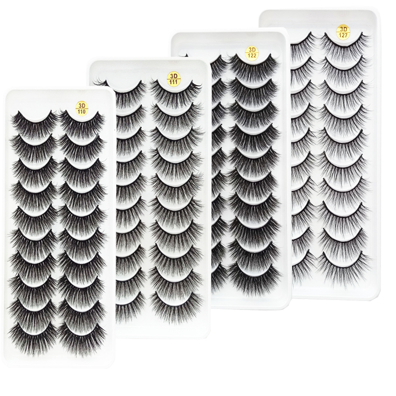 New 5/10 Pairs 3D Mink Lashes Natural Thick Curled Fluffy Small Bunch False Eyelashes Make Women Beautiful In An Instant Lashes