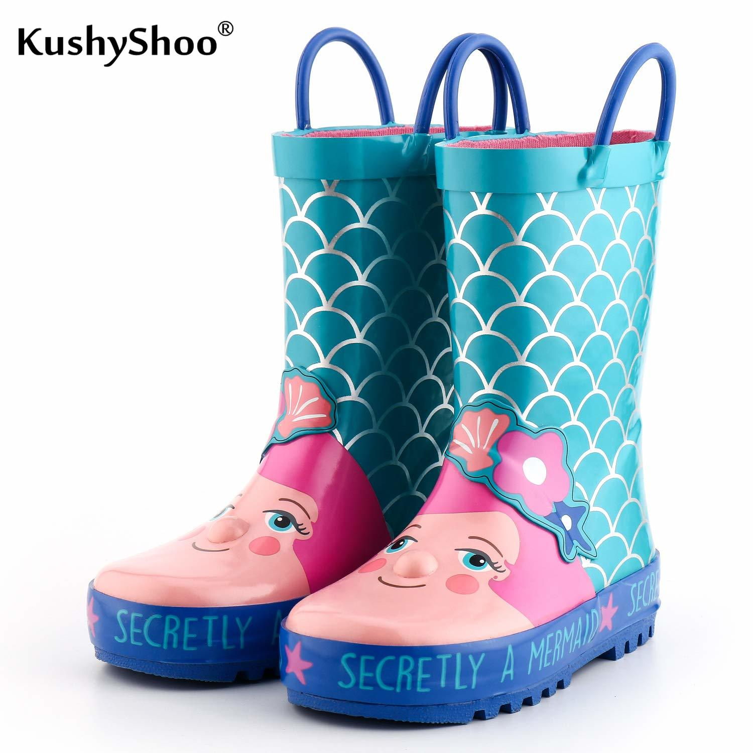 KushyShoo Kids Rain Boots Children's Rubber Boots Lovely Mermaid Patterns Kids Boots 2019 Girls Rainboots Toddler Water Shoes