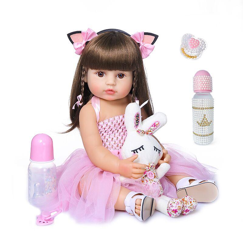 Muñeca de bebé de 55cm, reborn, niño niña, princesa rosa, baty, juguete de cuerpo completo muy suave, muñeca de silicona