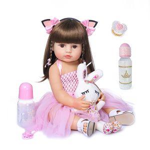 55cm NPK bebe doll reborn toddler girl pink princess baty toy very soft full body silicone girl doll(China)