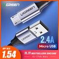 Cable Micro USB Ugreen Cable de datos USB de carga rápida de nailon 2.4A para Samsung Xiaomi LG Tablet Android Cable de carga USB para teléfono móvil