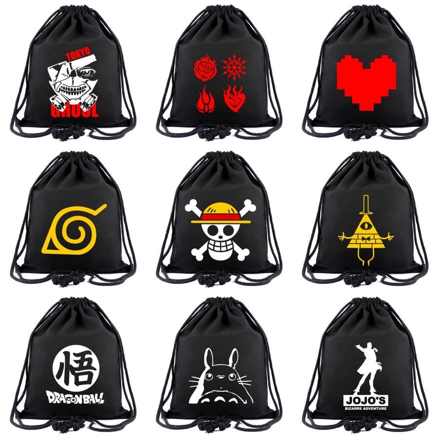 Anime Cartoon Canvas Drawstring Backpack Naruto Totoro RWBY JoJo's Women Fashion Cosmetic Stringbag Casual Beach Bag Shoes Pouch