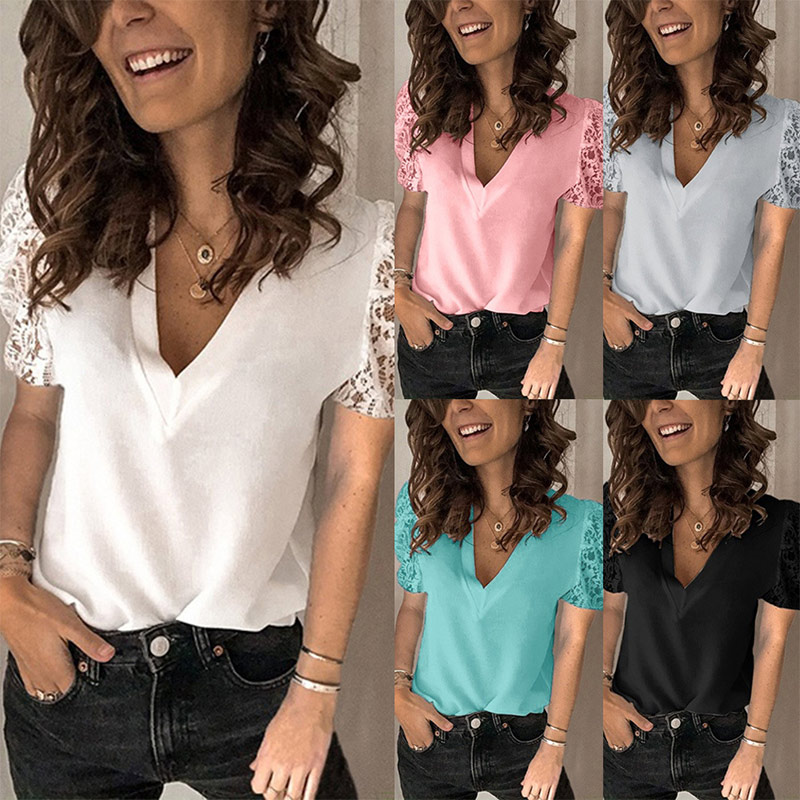 Women V-neck Lace Hollow Out T-shirt Patchwork Short Sleeve White Office Ladies Tops 2020 Summer Casual Solid Female T-shirts