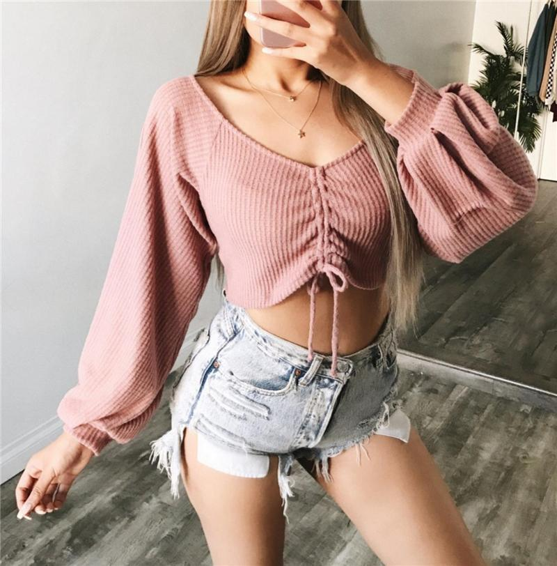 Women Slim Bow Tie Winter Knitted Sweater V-Neck Crop Sexy Sweaters And Pullovers Lantern Sleeve All-Match Black T