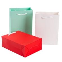 10pcs/lot Cute Red Blue White Color Thick Kraft Paper Bag DIY Multifunction Decoration Gift 15x20cm 12x16cm
