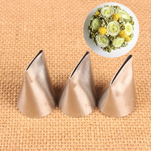 3pcs Kitchen Acessories Pastry Nozzles Rose Icing Piping Tips #124K#125#126K Stainless Steel Nozzles Sets Cake Decorating Tools
