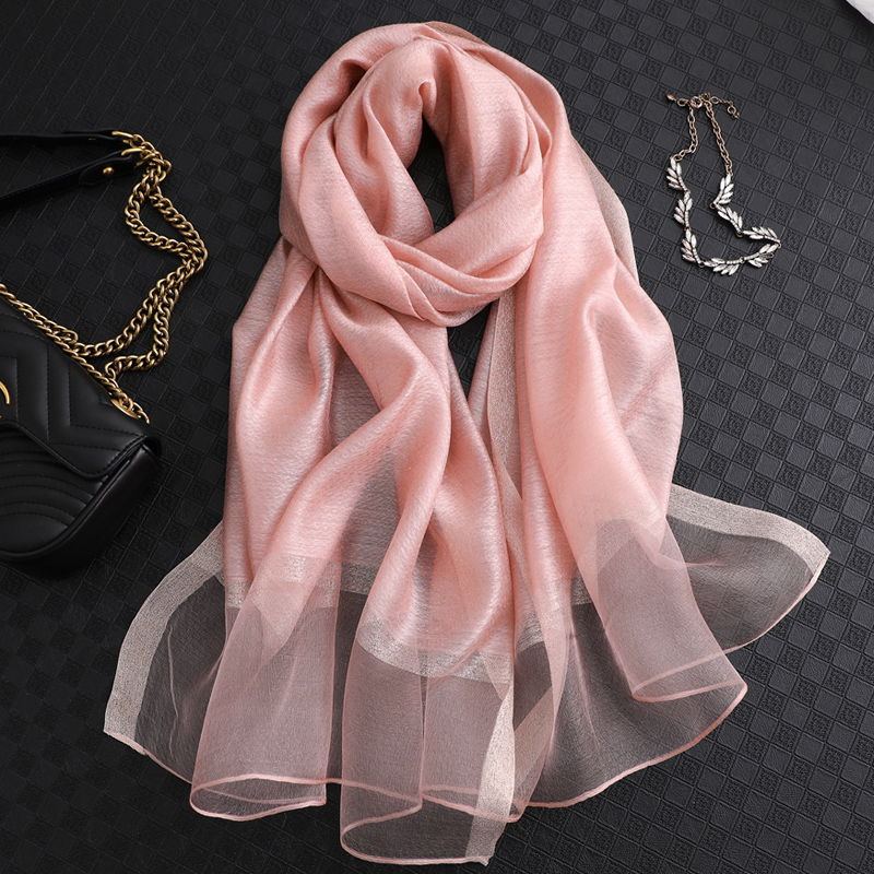 Image 5 - 100% Silk Scarf Womens Fashion Large Sunscreen Shawls Wraps Lightweight Striped Pattern Wool Wraps for WomanWomens Scarves   -