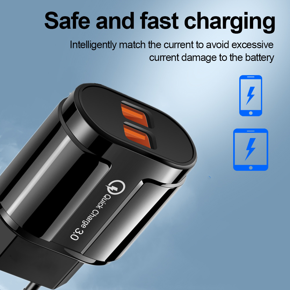 USB Charger Universal Quick Charge 3.0 4.0 fast charging wall charger adapter for iphone samsung huawei mobile phone tablet 3A (2)