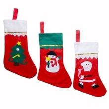 Candy Gift Bag Christmas Socks Cartoon Pattern Funny Socks Meias Socks Christmas Decoration Hanging Sock Random pattern christmas hanging balls pattern candy drawstring storage bag
