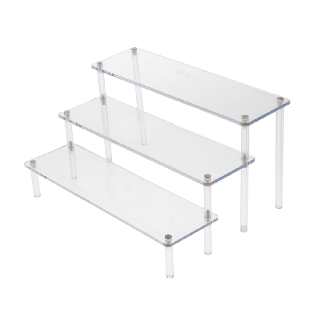 Two Tier Blue Shelf Acrylic Retail Display Collectable Perspex Stand Step