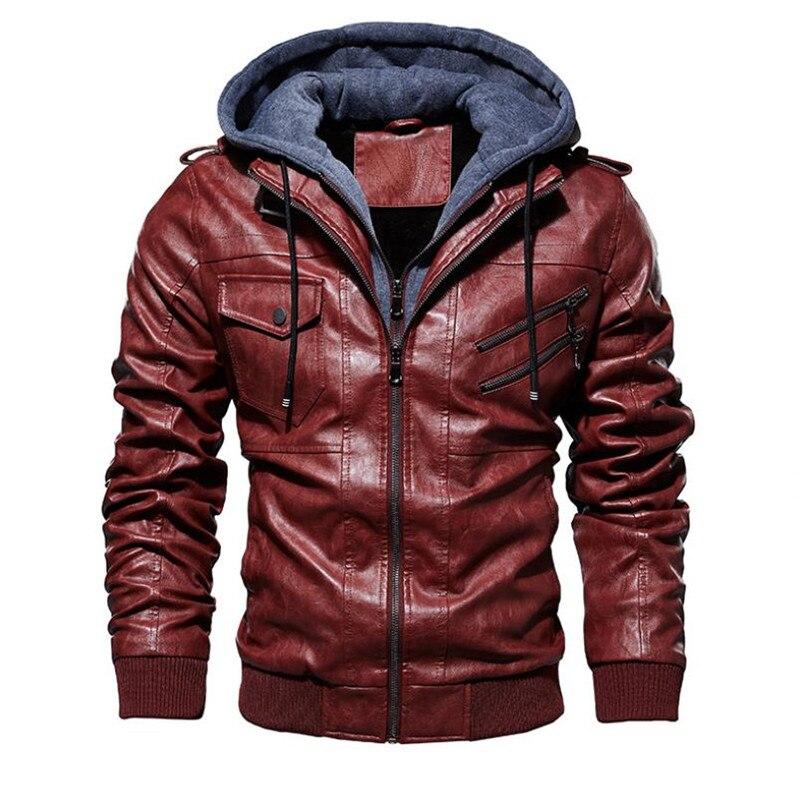Image 5 - Новая осенне зимняя мужская кожаная мотоциклетная куртка с капюшоном теплая бейсбольная куртка из искусственной кожи большой размер M 4XL мужская кожаная куртка-in Пальто из искусственной кожи from Мужская одежда