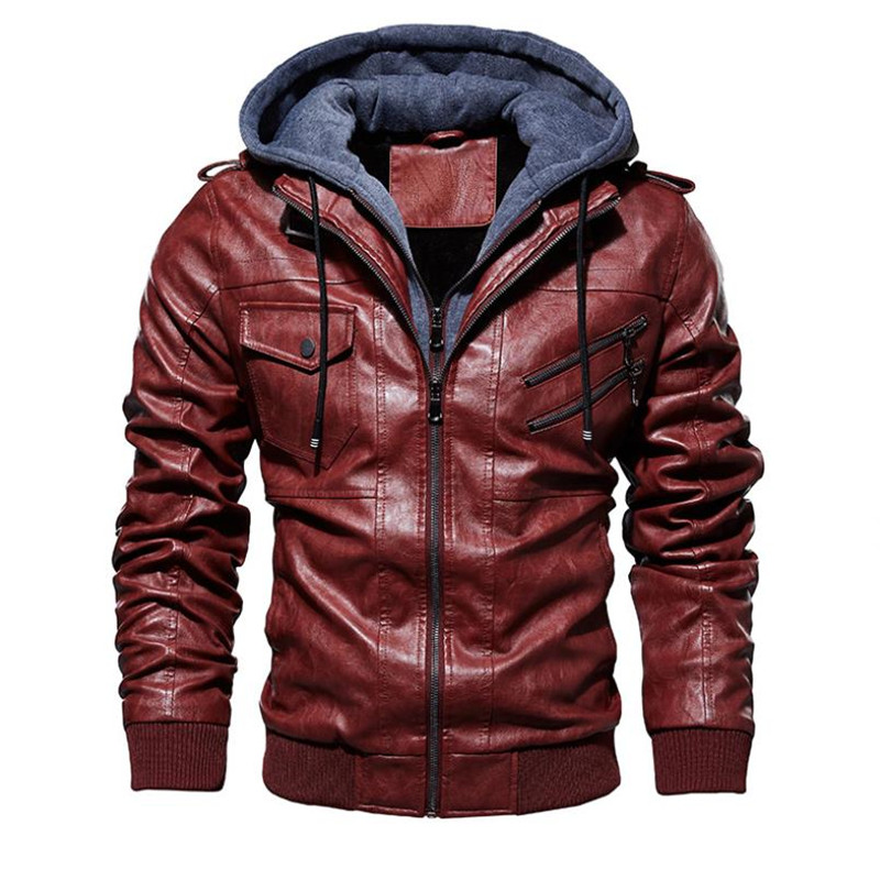 Image 5 - New autumn winter men's leather motorcycle jacket PU hooded jacket warm PU baseball jacket Large size M 4XL-in Faux Leather Coats from Men's Clothing