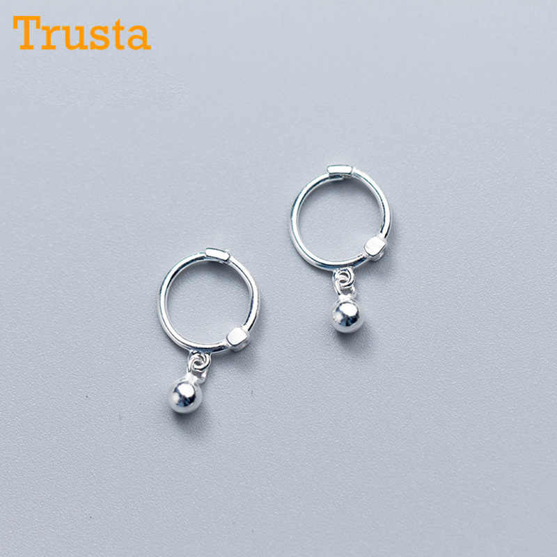 Trusta Womens Fashion 100% 925 Solid Real Sterling Silver Beads Small Stud Earrings Girls Gift jewelry DS915