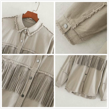 2020 Spring Autumn Fashion Rivet Tassel Denim Jacket Women Solid Short Casual Loose Jean Coat Female Outwear Tops Chaqueta Mujer 3