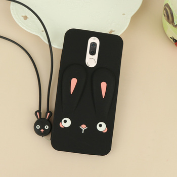 For Huawei Mate 10 Lite Leopard Cartoon Rabbit Fuda Capa Cover Silicon Back Lanyard for Huawei Nova 2i Glitter Marble Glass Case image