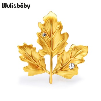 Wuli&baby Classic Enamel Maple Leaf Brooches For Women Green Yellow Rhinestone Leaves Weddings Casual Office Brooch Pins Gifts charming solid color maple leaf brooch pins for women