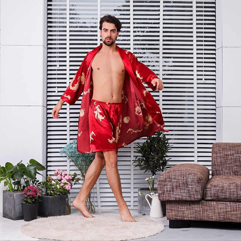 Homens Kimono Robe Sexy Duas Peças Set Calções Pijama Emulação de Seda Roupão Macio Cozy Fina Longo-manga Vestido de Banho tamanho grande M-5XL