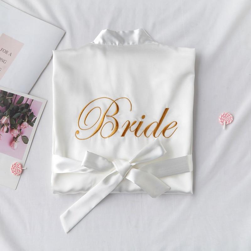 White Bride Bridesmaid Embroidery Robe Womens Wedding Kimono Sleepshirts Pajamas M-XL Spring Nightgown Bath Gown Sleep Sleepwear(China)
