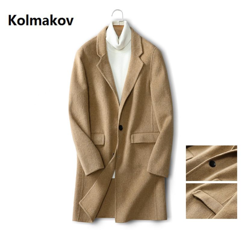 2020 Men's Fashion Korean Style Long trench coat men Winter Clothes high quality Wool Dress Men Double-faced overcoat