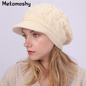 2019 Warm Rabbit fur Beanie Hat Women Winter Hats for Ladies Solid Skullies Caps Bonnet Femme Snapback Knitted