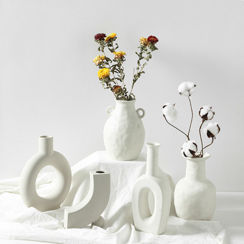 Ceramic Table Flower Vases Nordic Home Decoration Accessories Modern White Plant Art Decor Crafts Wedding Vase for Centerpieces недорого