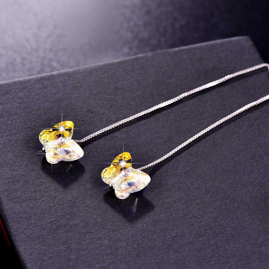 Cristalli Swarovski Orecchini a pendaglio Per Le Donne Farfalla Perline Catena D'argento Piercing Ciondola L'orecchino di Modo Dei Monili di Cerimonia Nuziale