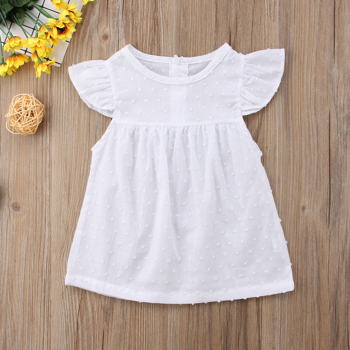 Newborn Infant Clothes Baby Girl White Tulle Princess Dress Toddler Short Sleeves Party Birthday Holiday Tutu Dresses