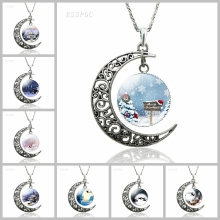 Christmas Fashion Decorative Crescent Moon Necklace Santa Claus Elk Glass Dome Cabochon Jewelry Pendant Women Birthday Gift lucky clover glass cabochon jewelry set women fashion crescent moon chain necklace earrings bracelet set sg