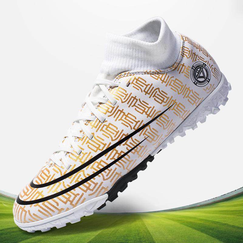 Ifrich Hot Kids Boy Football Boots Brand Big Boy Turf Trainers High Top Soccer Shoes Kids Sneaker Blue Indoor Soccer Shoes Boys