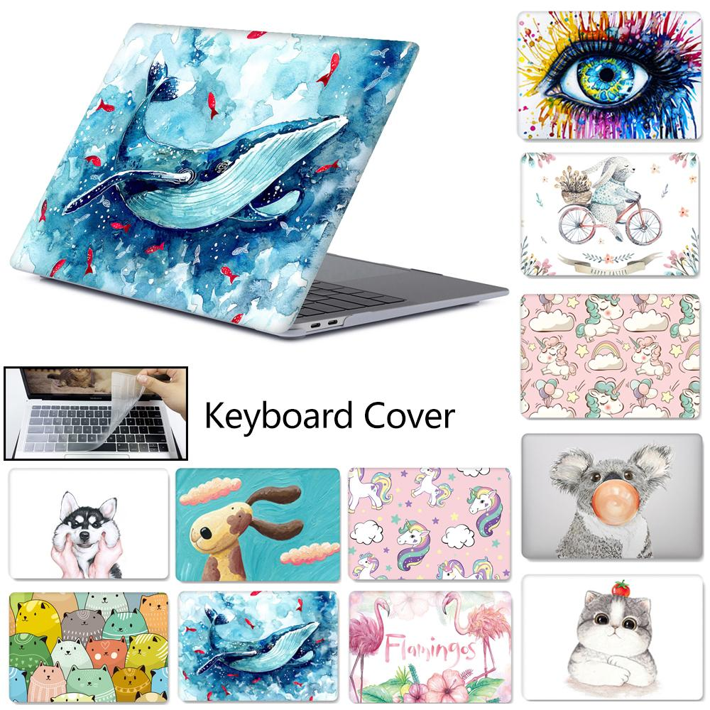 3D Cover For Macbook Air Pro Retina 13 15 Touch Bar A2159 A1706 Laptop Case For Macbook Touch ID Air 13 A1932 +keyboard Cover
