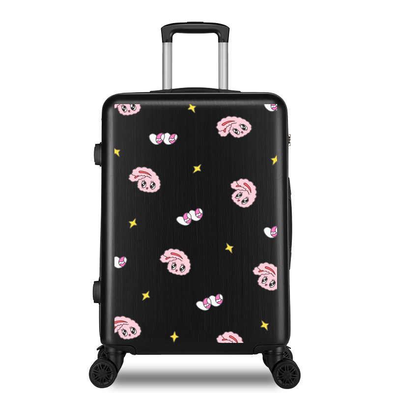 Reizen Rollende bagage Sipnner wiel ABS + PC Vrouwen koffer op wielen cartoon mode cabine handbagage trolley bagage 20/28 inch