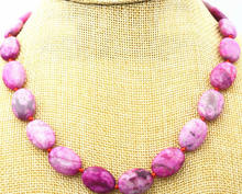 "new 13x18mm pink Crazy Lace Agate Gems Oval Beads Necklace 18""(China)"