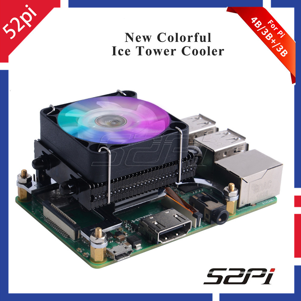 52Pi Black Low-Profile Ice Tower Cooling Fan Metal Case 7 Colors RGB Changing LED Light with Bracket for Raspberry Pi 4B/3B+/3B