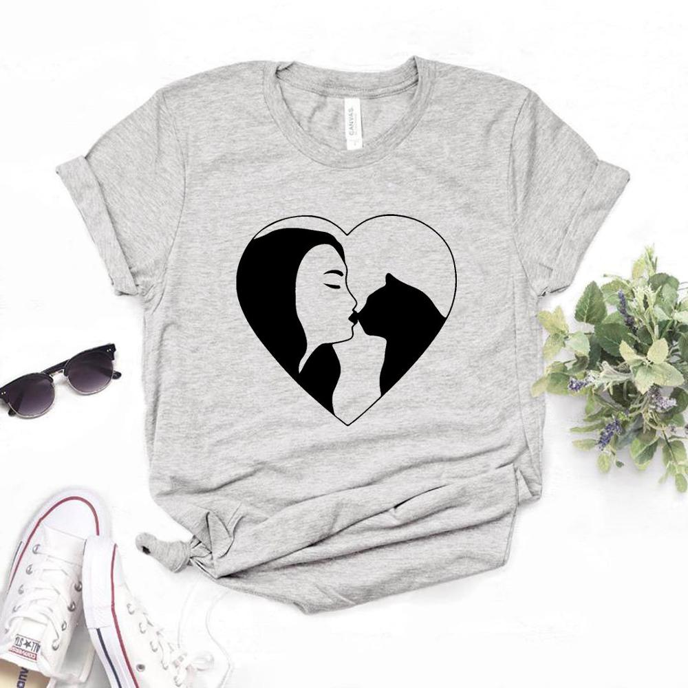 Cat Mom Heart Print Women Tshirt Cotton Casual Funny T Shirt Gift Lady Yong Girl Top Tee 6 Color A-1084