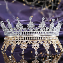 Elegant Full Cubic Zirconia Wedding Bridal Tiaras and Crowns Pageant Headpieces CZ Party Prom Hair Jewelry Gift for Women Girls exellent full aaa cz crowns tiara bridal wedding hair jewelry accessories pageant headpiece tr15063