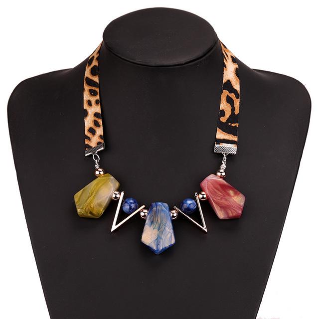 Women's Stone Pendant Necklace with Leopard Lace