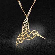 100% Stainless Steel Animal Hummingbird Fashion Necklace for Women Personality Jewellery Wedding Party Necklaces Wholesale(China)