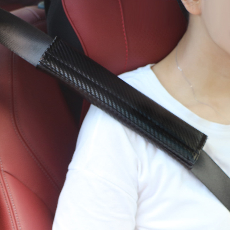 2pcs Carbon Fiber Car Seat Belt Cover Shoulder Padding Car Styling For Porsche Cayenne Macan 911 Cayman