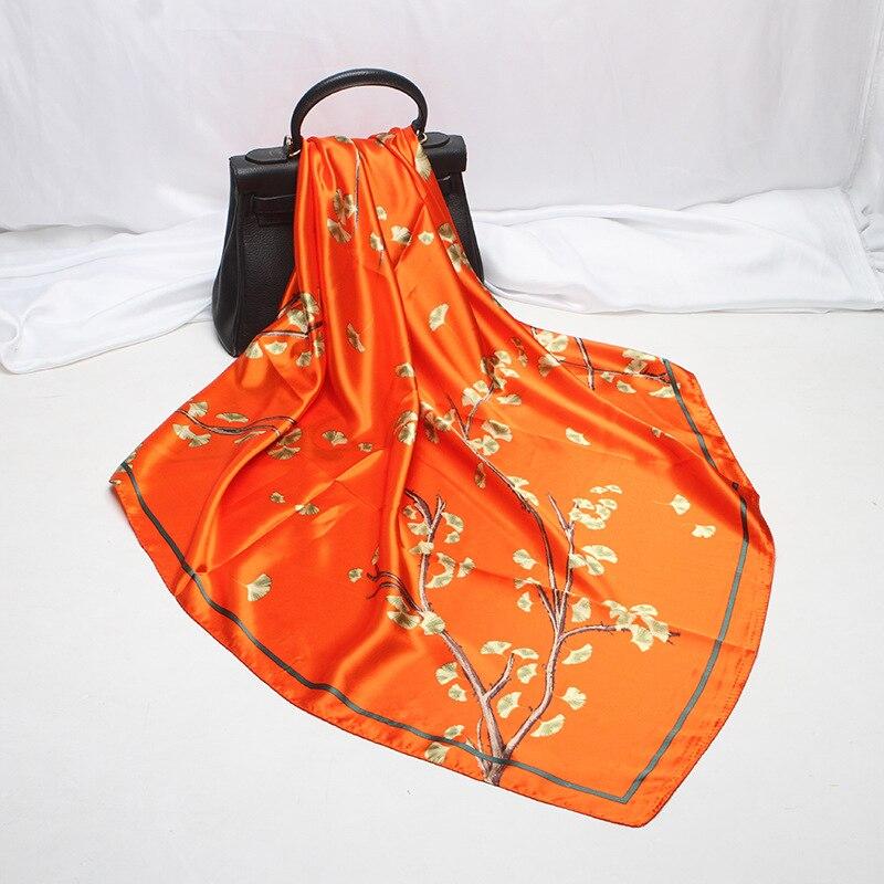 Fashion Kerchief Women Hijab Scarf Bandana For Head Floral Print Silk Satin Hair Scarfs Female 90*90cm Square Shawls And Scarves