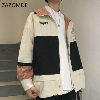 ZAZOMDE New Mens Trench Coats Oversized Man Cotton Casual loose Design Autumn Jackets Overcoat Jacket trench Hoodie
