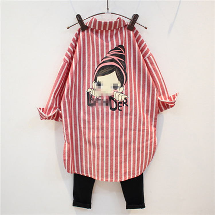 2019 Spring And Autumn New Style Children's Comfortable Loose-Fit Fold-down Collar Tops Girls Cute Printed Pattern Versatile Shi