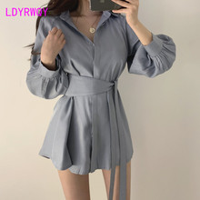 2019 autumn new Korean version of the bandwidth loose top + shorts two-piece fashion suit female