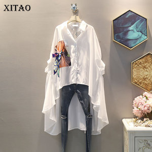 Image 1 - XITAO Irregular Pleated Black White Shirt Women Clothes 2019 Tide Print Button Blouse Top Summer Fashion New Match All ZLL4271