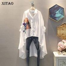 XITAO düzensiz pilili siyah beyaz gömlek kadın kıyafetleri 2019 gelgit baskı düğmesi bluz üst yaz moda yeni tüm ZLL4271