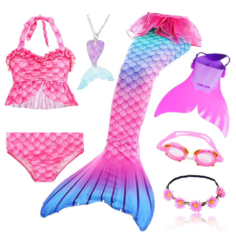 Kids Swimmable Mermaid Tail for Girls Swimming Bating Suit Mermaid Costume Swimsuit can add Monofin Fin Goggle with GarlandGirls Costumes   -
