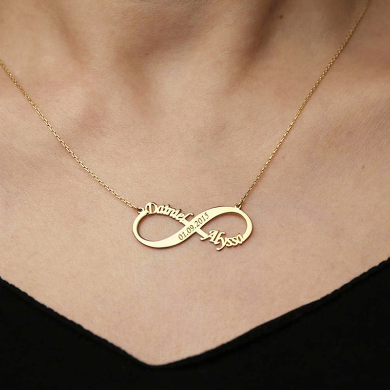 Custom Infinity Necklace Silver Gold Chain Stainless Steel Customized Personalized Name Necklaces Anniversary Gift For Her BFF