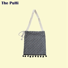 Tote Bag Cotton Vintage Grid Tassel Sweet Temperament Cloth Shoulder Canvas Handbags Shopping