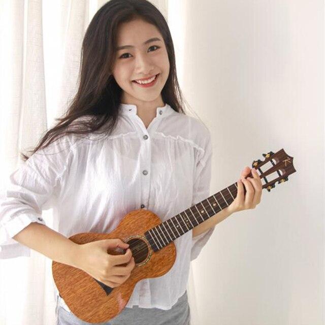 カカマッドウクレレ固体マホガニー黒青仕上げバッグエンヤ ukeleles ハワイ 4 弦アコースティックギター楽器