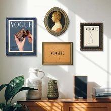 Moda vintage menina no espelho pintura em tela abstrato rosto linha vogue citação arte da parede cartazes e impressões minimalista decoração casa