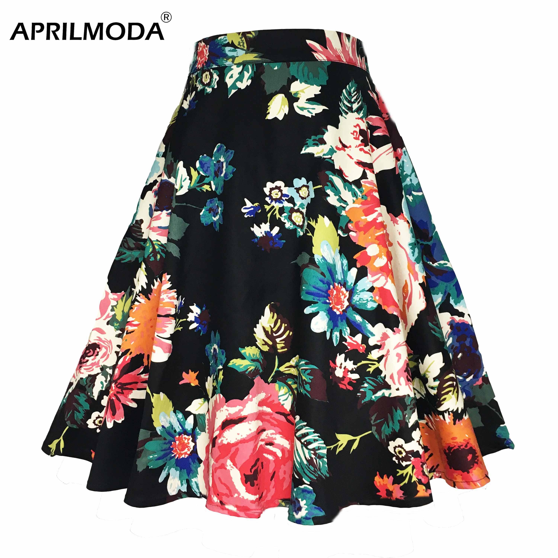 Летняя Повседневная приталенная юбка с цветочным принтом 2019, модная женская черная трапециевидная юбка в горошек с завышенной талией